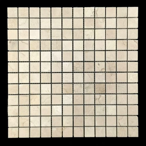 "Honed Crema Marfil Mosaic 1""x1"""